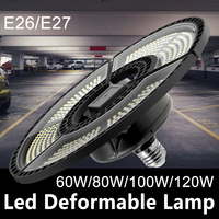 UFO bombilla LED 60W 80W 100W 120W E27 lámpara LED E26 luz LED 220V lámpara Deformable Luz de garaje 110V iluminación de almacén impermeable
