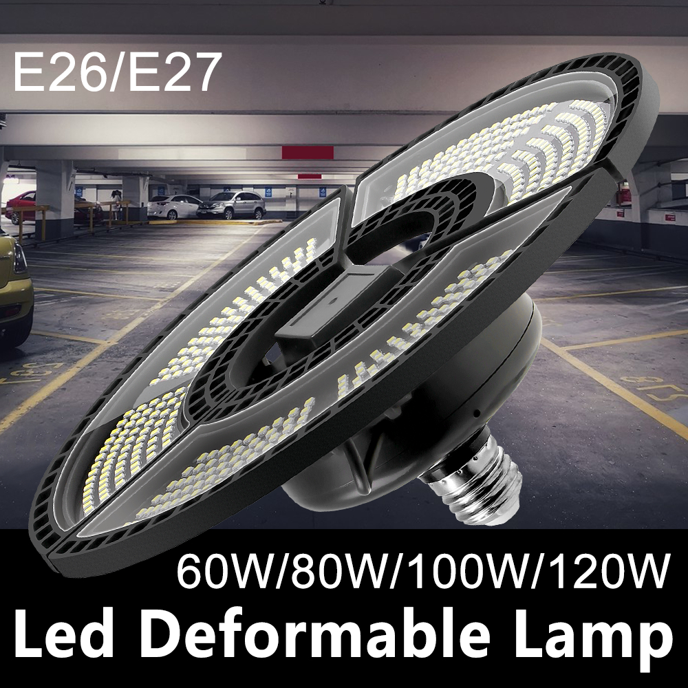 UFO LED Bulb 60W 80W 100W 120W E27 LED Lamp E26 LED Light 220V Deformable Lamp Garage Light 110V Waterproof Warehouse Lighting