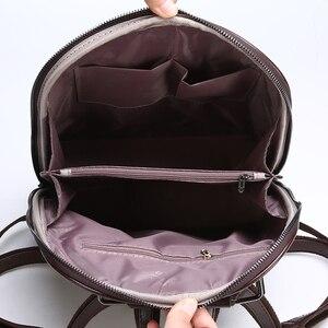 Image 4 - 2019 nouveau femmes Vintage sac à dos marque luxueux en cuir femmes sac à bandoulière grande capacité sac décole pour fille loisirs Backpac