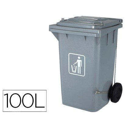 BIN CONTAINER Q-CONNECT PLASTIC WITH TAPADERA 100L COLOR GREY 750X470X370 MM WITH WHEELS