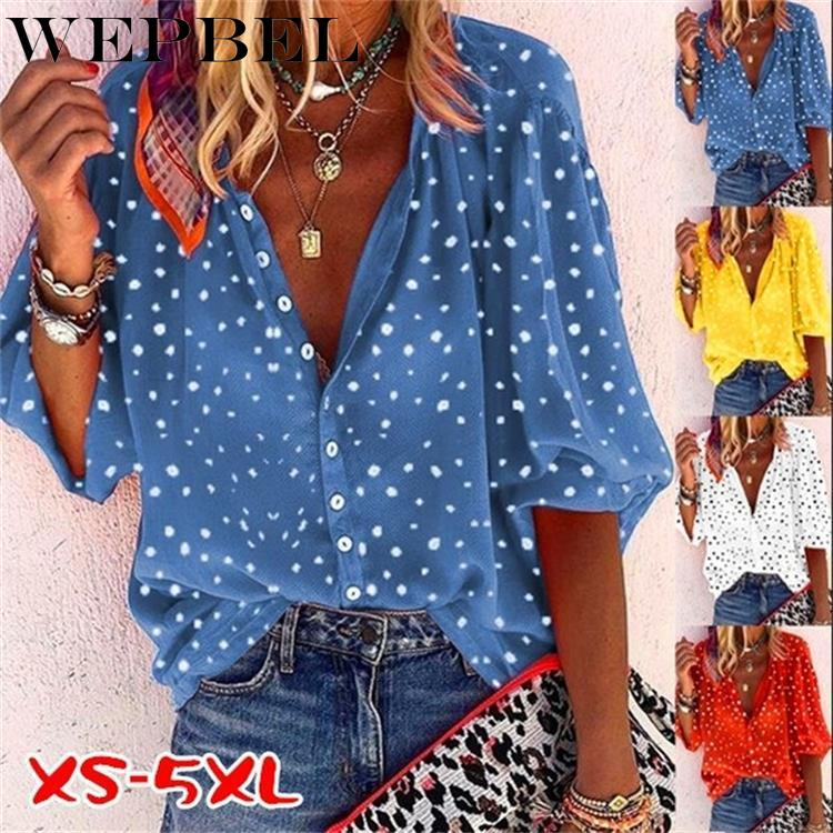 WEPBEL New Women's Fashion Loose Casual Long Sleeved Polka Dot Printing V Neck Button Shirt & Blouses Plus Size Tops S-5XL