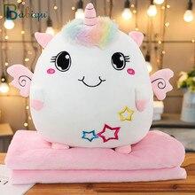 Мягкая красочная набивная Подушка 3 в 1, Подушка с одеялом, кавайный плюшевый динозавр, единорог, слон, кошка, игрушка для детей, мультяшный по...