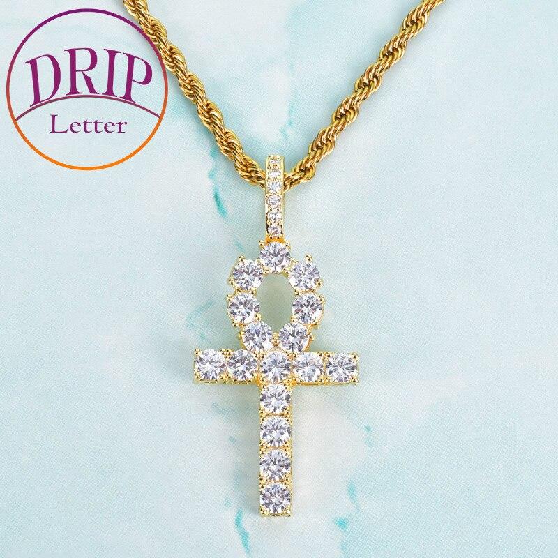 Ankh Cross Pendant Gold Color Zircon Necklace Men Women Hip Hop Rock Street Jewelry