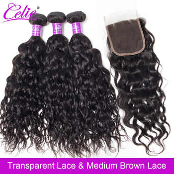 Celie Brazilian Hair Weave 3 Bundles With Closure Water Wave With Closure Remy Human Hair Bundles With HD Transparent Closure - DISCOUNT ITEM  35% OFF All Category