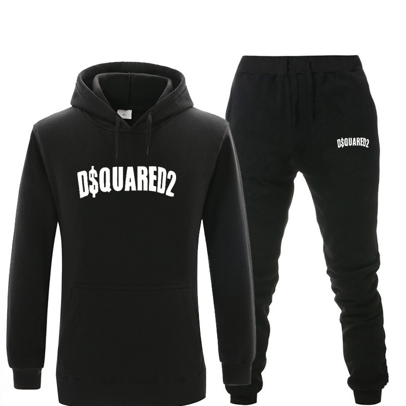 New Tracksuit Men Sets Brand Letter Printed Hoodies Sets Fashion Hooded Sportswear Hip Hop Sweatshirts Two-piece Set Men's Suit