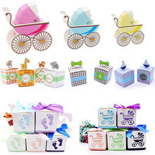 10 Stks/partij Dozen Snoep Baby Shower Party Cartoon Gift Bag Kids Party Gunsten Snoep Chocolade Tas Verjaardag Bruiloft Decoratie(China)