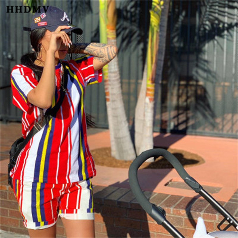 HHDMV SMD7015 casual holiday movement style sets short sleeve round neck top elastic short pants striped red two piece sets