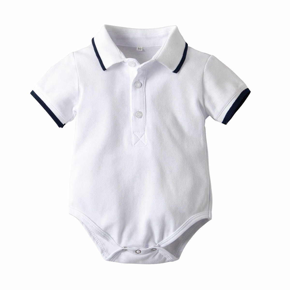 Bebê meninos macacão macacão cavalheiro manga curta cor sólida macacão infantil bebê recém-nascido meninos roupas macacão traje