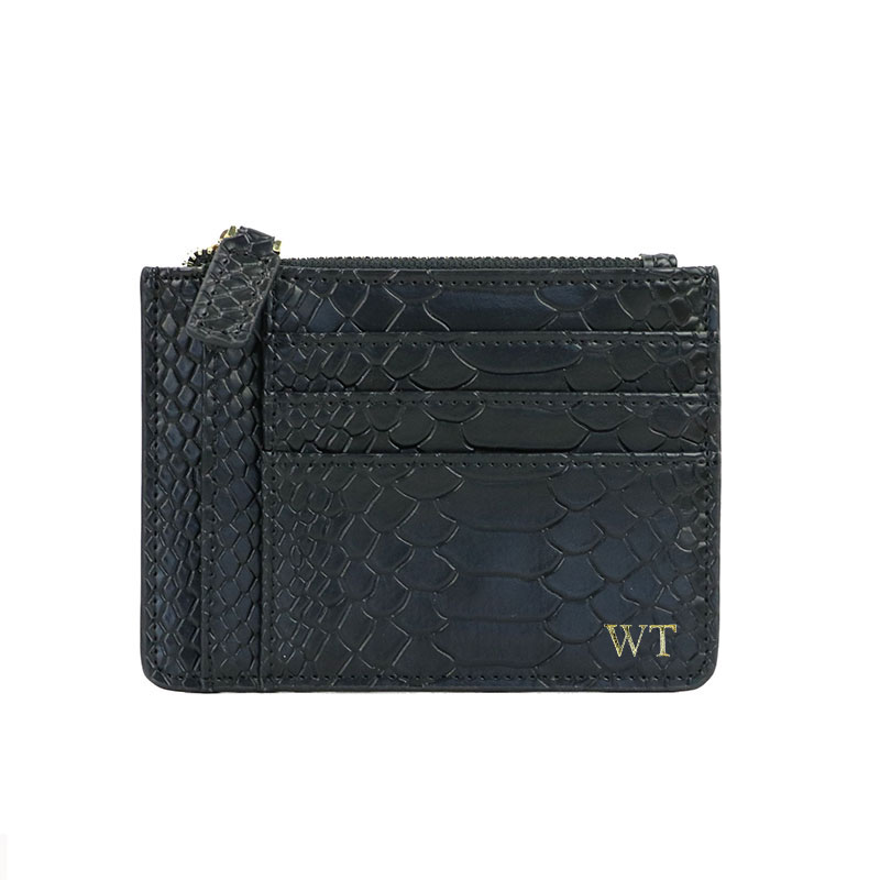 Customized Letters Men Snake Skin Python Pattern Leather Coin Purse Zip Wallet Pouch Women Credit Zipper Card Holder
