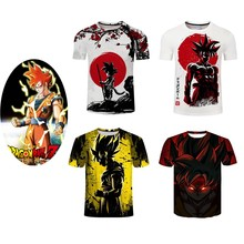 S/XXXXL Dragon Ball Anime cosplay costume Son Goku Kakarotto 3D Digital printing fashion Casual sports short sleeve t-shirt coat(China)