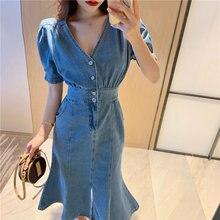 Женское джинсовое платье средней длины винтажное хлопковое с