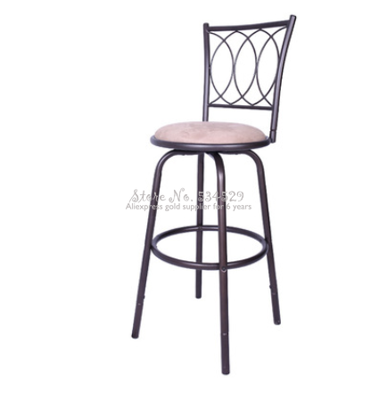 25%H 75cm Etro Iron Retro Bar Chair Top Dining Chair Swivel Bar Chair With Backrest And Leather Seat Bar Furniture