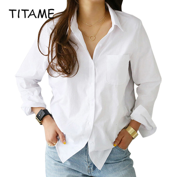 Turn-Down Collar White Loose Long Sleeve Blouse 1