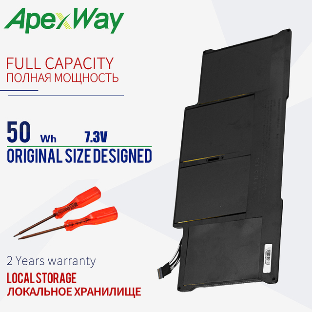 """ApexWay Laptop battery For MacBook Air 13"""" Model A1369 Mid 2011, A1466 A1405 Battery 020 7379 A MC965 MC966 MD231 MD232 20"""