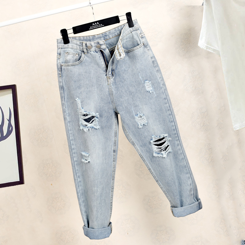 Ff1006-1 2019 New Autumn Winter Women Fashion Casual Denim Pants Boyfriend Frayed Ripped Jeans For Women Street Style