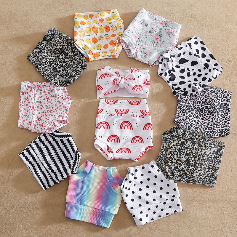 Baby Infant Toddler Girls Shorts Floral Dots Loose Pants Underwear Boys Bloomer Princess Diaper Cover and Bowknot Headband Set