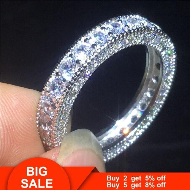 Vecalon Eternity pierścień przyrzeczenia 925 srebro 3 wiersze Pave AAAAA Cz komunikat obrączka pierścionki dla kobiet mężczyzn biżuterii