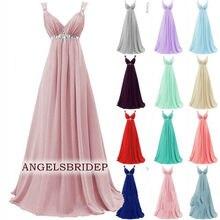 ANGELSBRIDEP-Vestidos largos de dama de honor, vestidos de moda de gasa con tirantes, apliques, Vestido Formal de fiesta