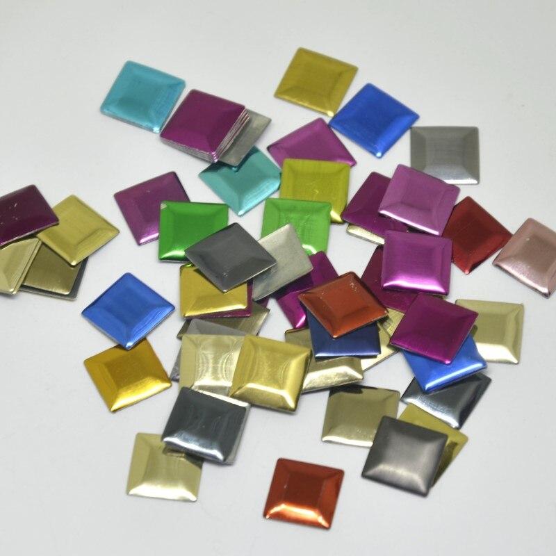 Piezas cuadradas de fijación en caliente de hierro de 800 Uds., metálicas de aluminio con adhesivo de perforación en caliente, accesorios de decoración para ropa DIY/prendas de vestir