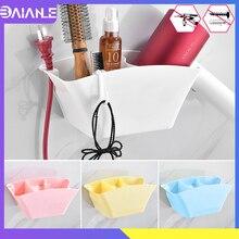 Hair Dryer Holder Wall-Mounted Bathroom Rack Storage Plastic Hairdryer Hanger White Shelf No Drilling