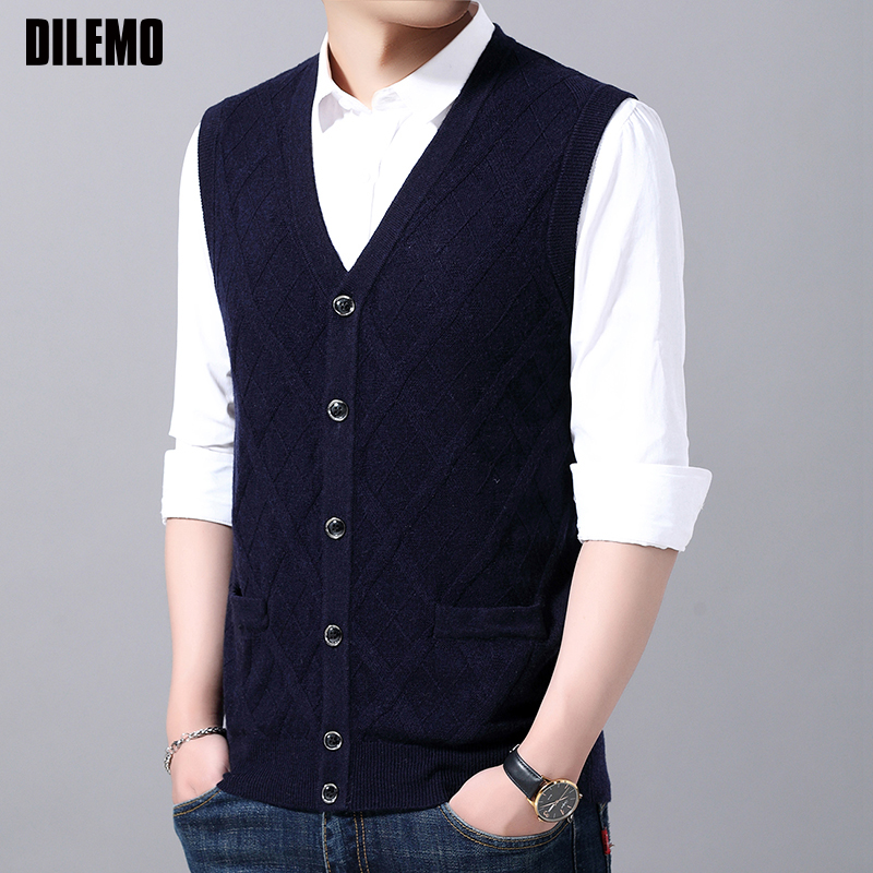 6% Wool Fashion Sleeveless Sweater For Mens Cardigan V Neck Warm Slim Fit Jumpers Knitwear Autumn Vest Casual Clothing Male