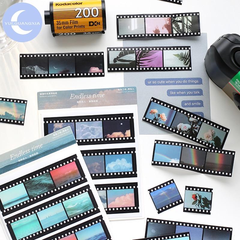 YueGuangXia Cinema Tape PVC Sticker Scrapbooking Planner Grid Japanese Kawaii Decorative Stationery Sticker Escolar 4 Designs