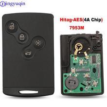 Jingyuqin – système de clé douverture/entrée à distance 4B, 433MHz, transpondeur Hitag AES, pour voiture Renault Clio IV Captur, PCF7953M