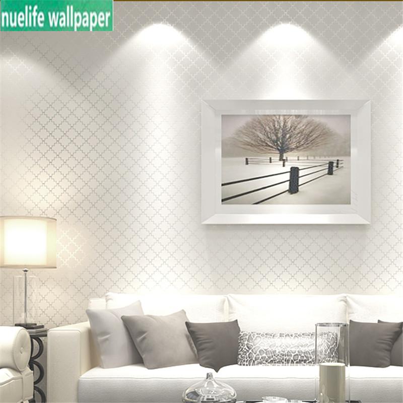 Nordic wallpaper modern minimalist non-woven wallpaper 3d bedroom living room background pure pigment color lattice wallpaper