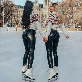 Hirigin Women Fashion Sexy High Waist Black Slim Stretchy Skinny Shiny Wet Look Leather Vinyl Leggings Trouser Pants black leather look leggings