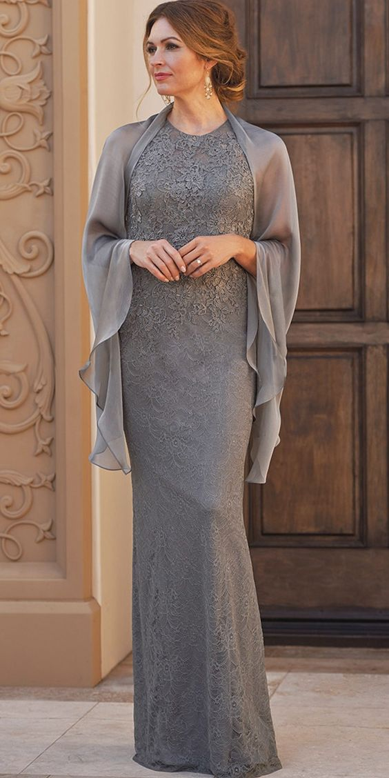 Lace Mother Of The Bride Dresses With Jacket Sheath Jewel Neckline Floor Length Plus Size Mother Dress For Wedding