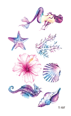 Temporary Tatoo Fake Tattoo Sticker Mermaid Starfish Sea Tatto Tatouage Waterproof Tattoos Stickers Body Art For Women Girl Men