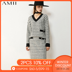Amii Minimalism Autumn Winter Suit Female Fashion Vneck Plaid Knitted Sweater High Waist Aline Female Skirt Woman Suit  12040972