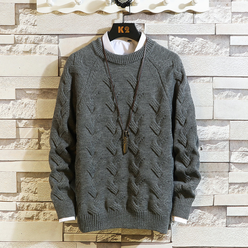 Winter Thick Sweater Men Warm Fashion Solid Color Casual Knit Sweater Man Streetwear Loose Long-sleeved Pullover Male Clothes