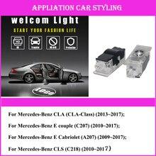 лучшая цена 2pcs/lot Car Logo Projector Light For AMG Logo CLA AMG A207 W218 CLS C207 C117 Car Styling Welcome Light LED Car Door Light