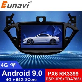 Eunavi 2 din radio 4G+64G android 9.0 car dvd for Opel Corsa E 2014 2015 2016 GPS Navi WIFI car stereo PX6 2.0GHZ 8 Cores