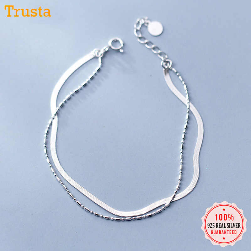 Trusta 100% Sterling Silver 925 Bracelet Women's Fashion Jewelry Snake Chain Bracelet Birthday Gift For Girls Office Lady DS1461