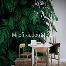 Wallpaper Decorative-Painting Background-Wall Bedroom Custom Living-Room Leaf 3D Green
