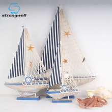 Strongwell Wooden Sailboat Ornaments Mediterranean Style Handmade Wood Craft Boat Model Restaurant Home Decoration Accessories