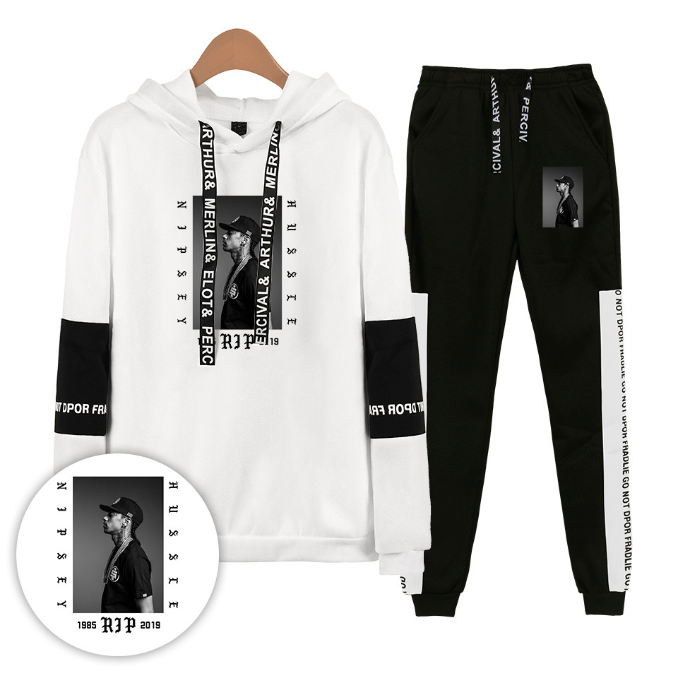 Nipsey Hussle Ouma Rap Singer Casual Hooded Sweater + Skinny Pants Men And Women Ankle Banded Pants Set