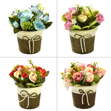 Artificial Silk Rose Flowers+Rattan Vase Simulation Plants Mini Bonsai Set for Wedding Party Home Garden Decoration Fake flowers hydrangea simulation small bonsai set ornaments raw silk qiu ju ceramic vase artificial flowers decoration pot living area meal