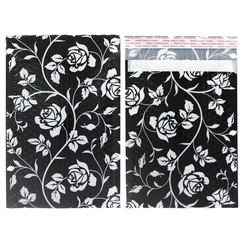 TONESPAC 190*260mm 50pcs Rose Poly Bubble Mailer Padded Shipping Envelopes Bag Self Seal Waterproof Packaging Black