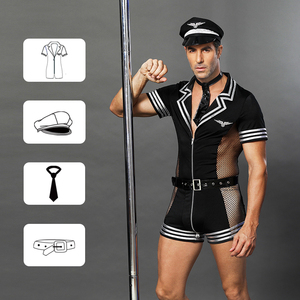 Image 5 - JSY adult men clothes for sex erotic costumes sexy lingerie role playing policeman costume mens black polyester clubwear 6609