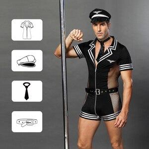 Image 5 - JSY erwachsene männer kleidung für sex erotische kostüme sexy dessous rolle spielen polizist kostüm herren schwarz polyester clubwear 6609