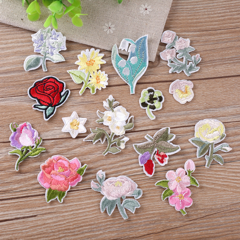 1Pcs Rose Embroidered Heat Transfers Iron On Sew On Patches For DIY Stripes Clothes Patchwork Sticker Custom Flowers Applique