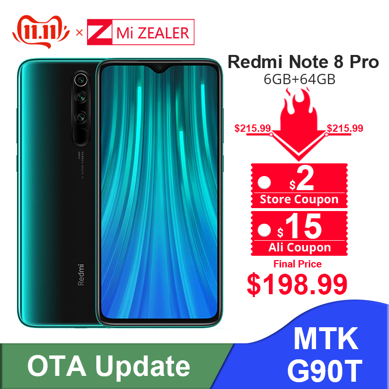 New Original  Xiaomi Redmi Note 8 Pro 6GB RAM 64GB ROM 4500mah Moible Phone 64MP Camera MTK Helio G90T Cellphone
