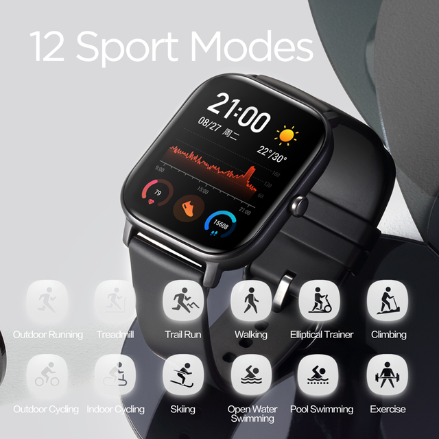 Global Version Amazfit GTS Smart Watch 5ATM Waterproof Swimming Smartwatch NEW 14Days Battery Music Control for Xiaomi IOS Phone 4
