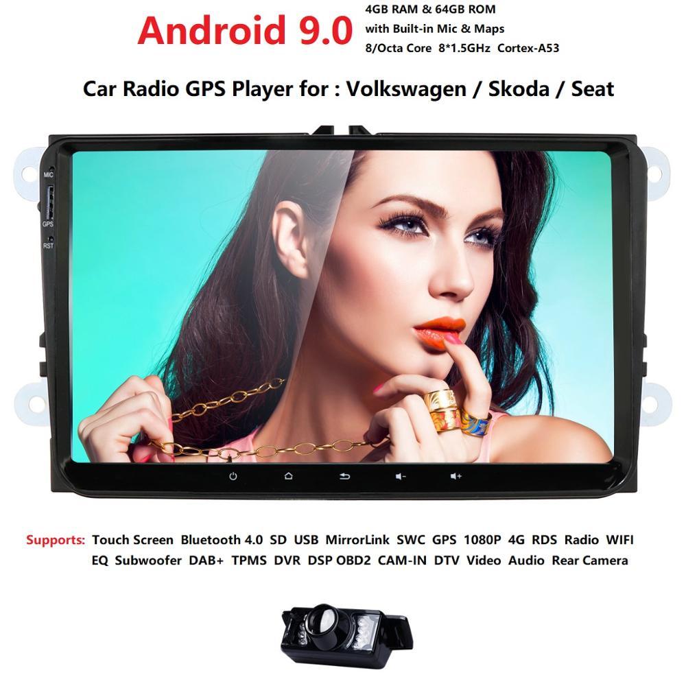 New! 9 Android 9.0 Car GPS Navigation for VW Volkswagen SKODA GOLF 5 Golf 6 POLO PASSAT B5 B6 JETTA TIGUAN dvd player BT RDS