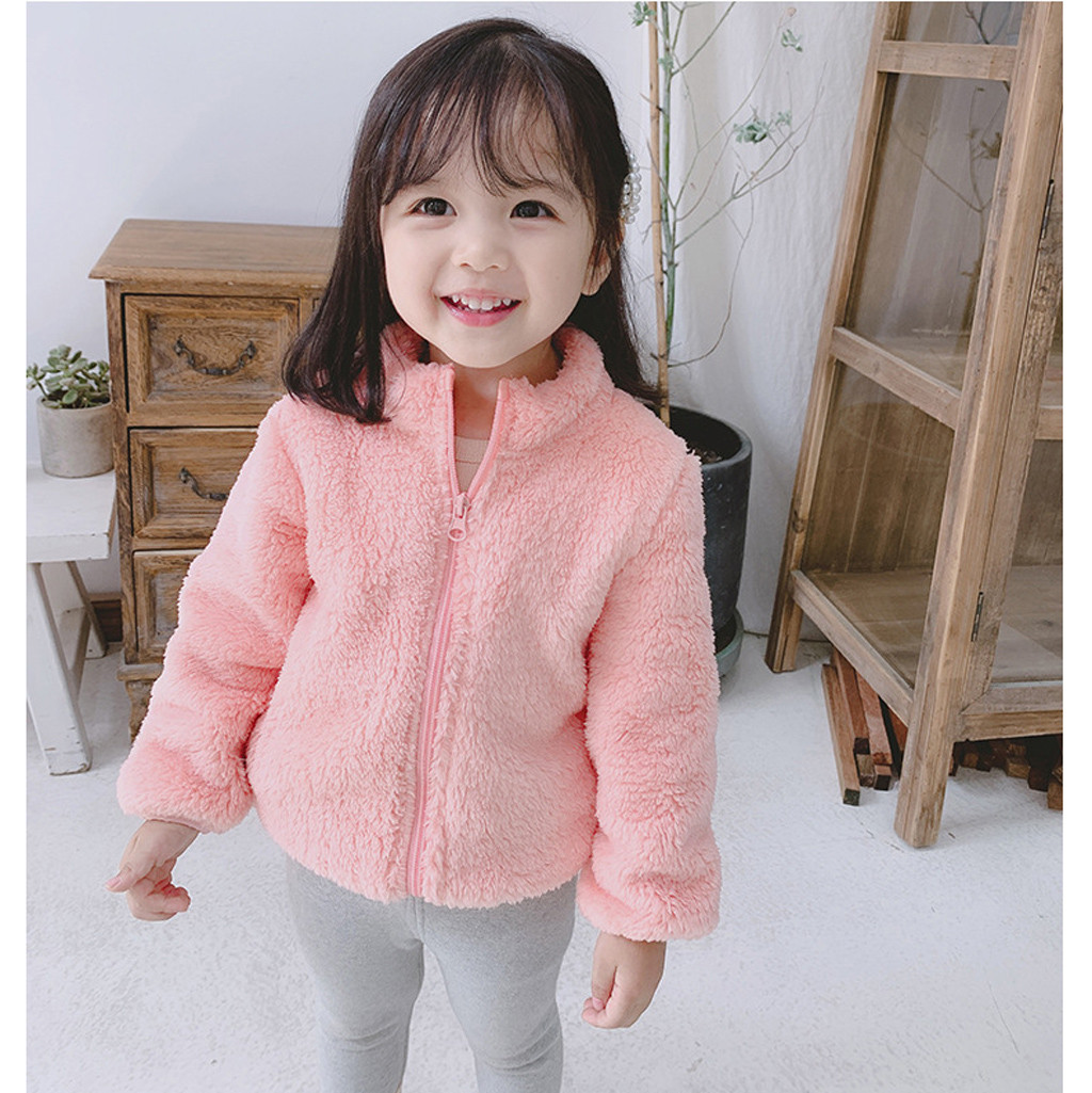Winter Baby Girl Clothes Cute Zipper Solid Long Sleeve Thick Warm Hooded Coat Warm Girls Outfits Baby Outwear Toddler Kids Cloth
