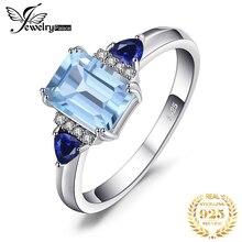JPalace 3 taşlar hakiki mavi Spinel Topaz yüzük 925 ayar gümüş yüzük kadınlar için nişan yüzüğü gümüş 925 taşlar takı