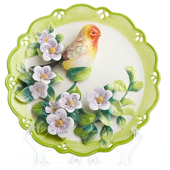 Vintage Hand Painted Ceramic Wall Plate Collectible Decorative Porcelain Plates For Wall Hanging Bird Duck Flower Ornaments Art